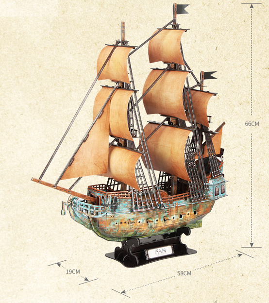 Cubicfun 3D Puzzle DS0938H Peter Pan Jolly Roger Ship Model Kits, Paper Toys.