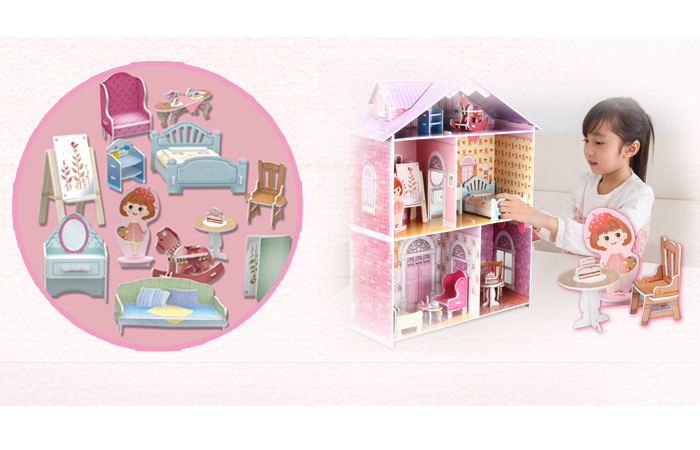 Cubicfun 3D Paper Puzzle K1201h Dollhouse Paper Playset Kits, Girl Toys.