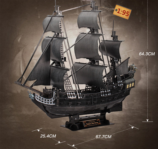 Cubicfun 3D Puzzle T4018h Queen Anne's Revenge Blackbeard's Ship Model Kits, Paper Toys.