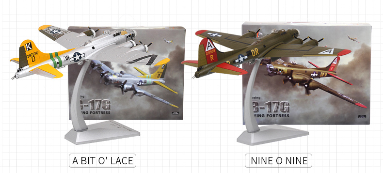 1/72 Scale Model WWII Bomber, USA B17 Flying Fortress Zinc Alloy Diecast Model.