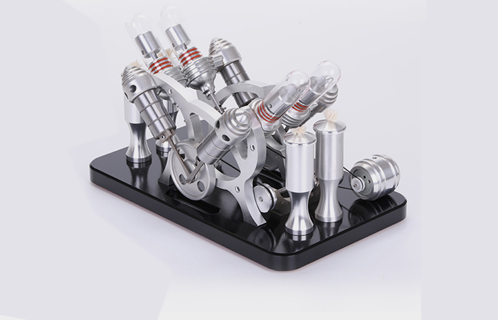 Engine Model, Four-Cylinder Stirling Engine With Generator, Fun toys, Laboratory equipment.