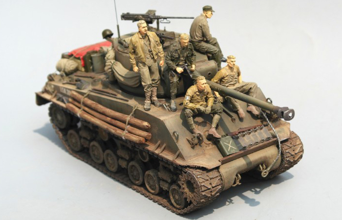 1/35 Scale Model Tank Finished Model Kit, M4A3E8 Sherman