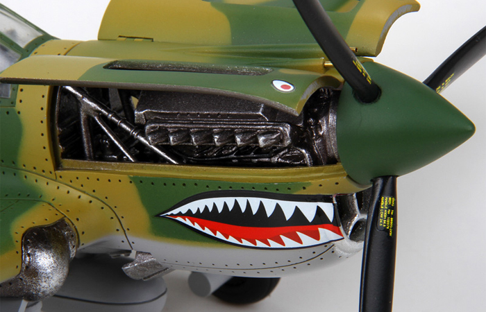1/32 Scale Model World War II Flying Tigers P-40 Fighter, 3rd Squadron Hell's Angels.
