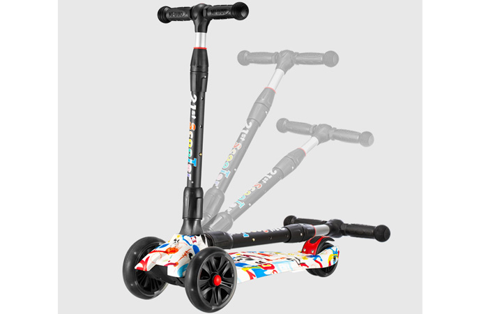 21st-Scooter RO204L 3 wheel Graffiti Scooter for kids, Flash tires, Foldable, Multiple Colors