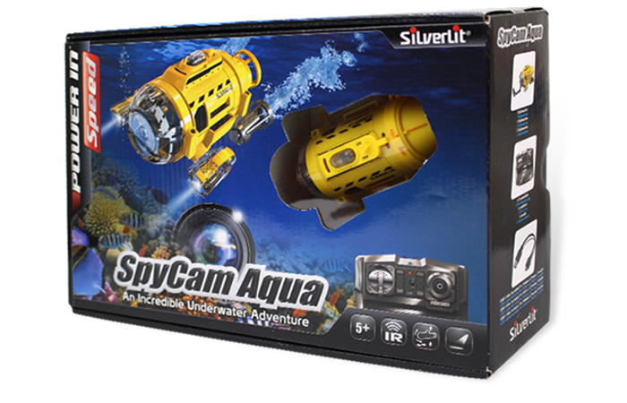 Silverlit Toys Power in speed, 82418 SUB-112 SpyCam Aqua Mini RC Submarine With Camera, Underwater photographing, Feeding fish, Aquarium Toys.