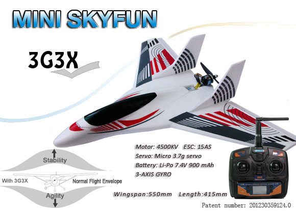 RTF Delta Wing Rear Propeller RC Aircraft, Three-axis gyroscope Brushless Motor 2.4GHz Radio remote control Plane, RC Glider..