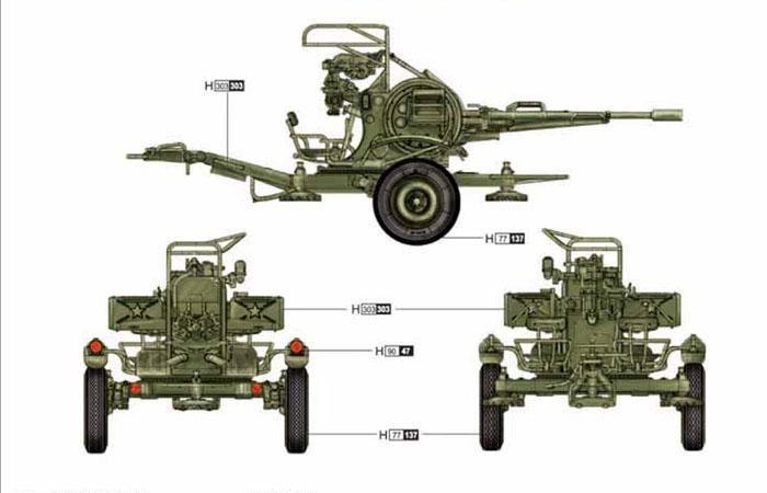 TRUMPETER Plastic Model Kit 02348, 1/35 Scale Russian (Soviet Union) ZU-23-2 Anti-Aircraft Gun Plastic Model Kit Scale Model, Static Weapon Model