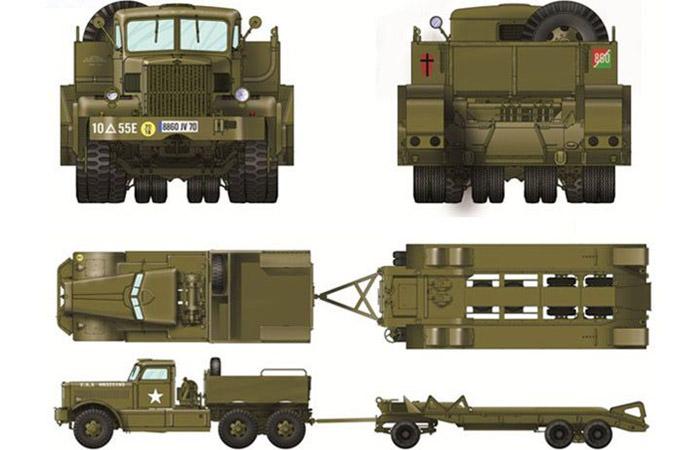 Merit Plastic Model kits MIL-63501, WWII American M19 Truck TANK TRANSPORTER W/HARD TOP CAB Model Kit Scale Model, Military Truck Model