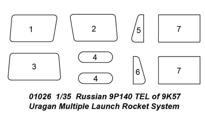 1/35 TRUMPETER 01026 Scale Model Kit, Russian 9P140 TEL of 9K57 Uragan Multiple Launch Rocket System.