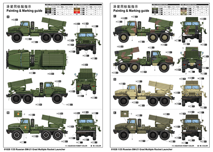 TRUMPETER 01028, 1/35 Scale Model Russian BM-21 Grad Multiple Rocket Launcher Plastic Model Kit.