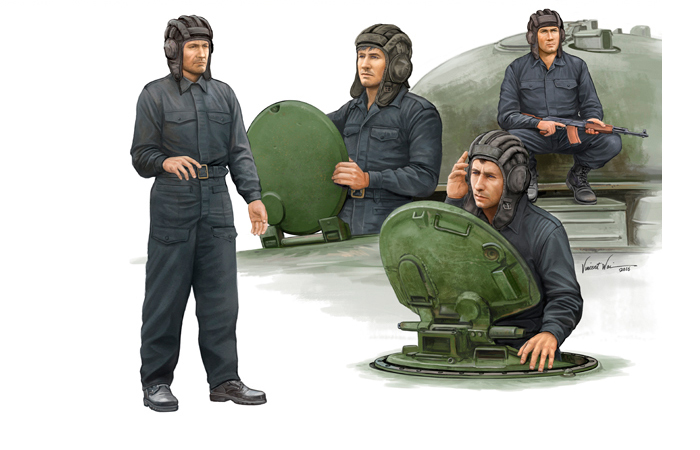 TRUMPETER 00435, 1/35 Scale Model (Russia) Soviet Tank Crew Plastic Model Kit.