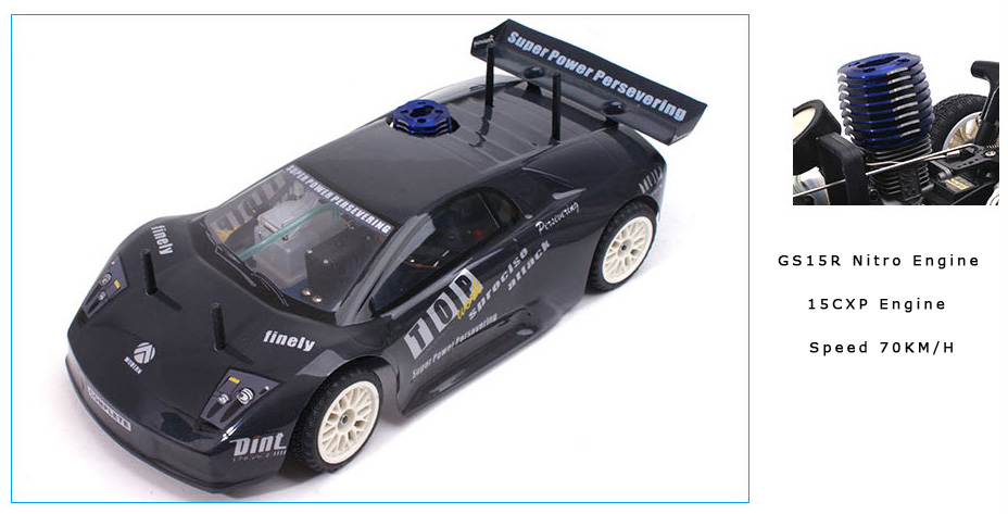 GS15R 15CXP nitro engine, Rapid Vh-A6 Lambo Style 4WD 1/10 Nitro Road Car, gas powered rc car, rc racing, rc drift, RC Nitro Car.